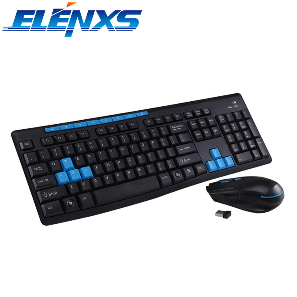 ELENXS Standard 112-Key Gaming Wireless Keyboard & Mouse Black Keyboard Mouse Combos for Laptops Desktops PC