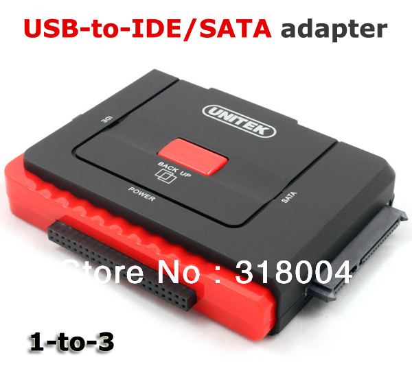 UNITEK Y-1031 USB to SATA/IDE adapter with power adapter 1-to-3 hard disk converter retail and wholesale drop/free shipping