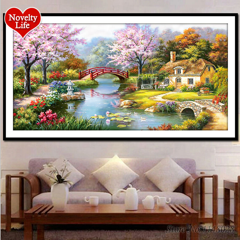 ᐊHogar ideal LAGO casa paisaje 5d DIY diamante Bordado Sets 3D cubo ...