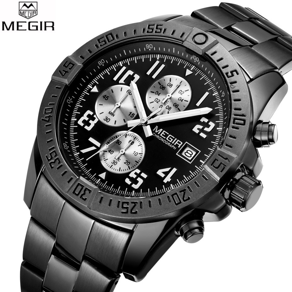 Top Luxury Brand MEGIR Watches Men Black Stainless Steel Quartz-watch Mens Sports Watch Chronograph Clock Male Relogio Masculino nakzen diamond men watch luxury brand sapphire watches mens stainless steel black gold wristwatch male clock relogio masculino