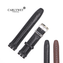 CARLYWET 19mm Black Brown Real Leather Handmade Replacement Grain Wrist Watch Band Strap With Silver Polished Buckle For Swatch
