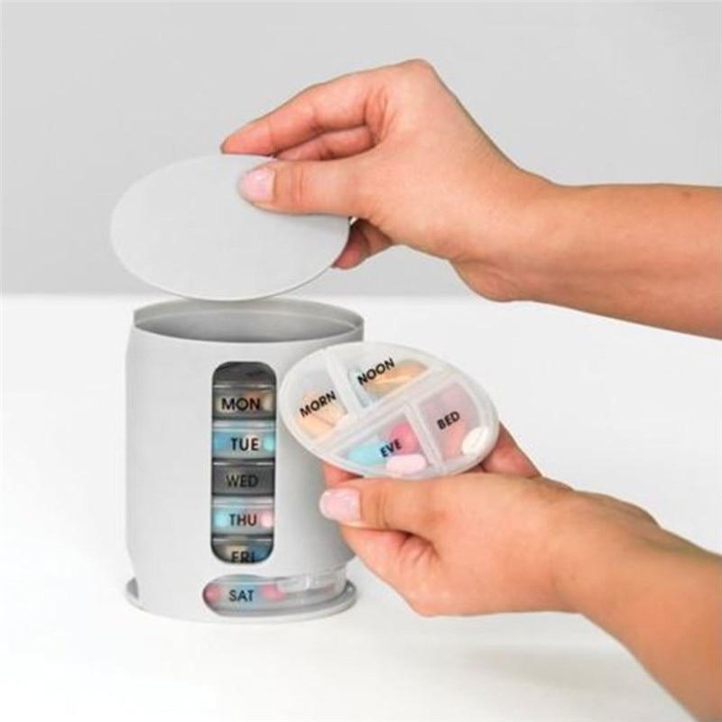 Новые поступления Pro таблетница 7 дней медицины контейнер круглый корпус диспенсер витамин органайзер для хранения держатель удобные горяч...
