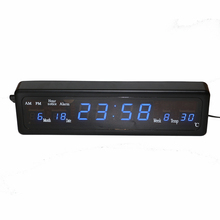Hourly Chime Desk Electronic Alarm Clock Digital LED Wall Clock with Temperature Calendar Blue Led Display Table Watch Home Deco