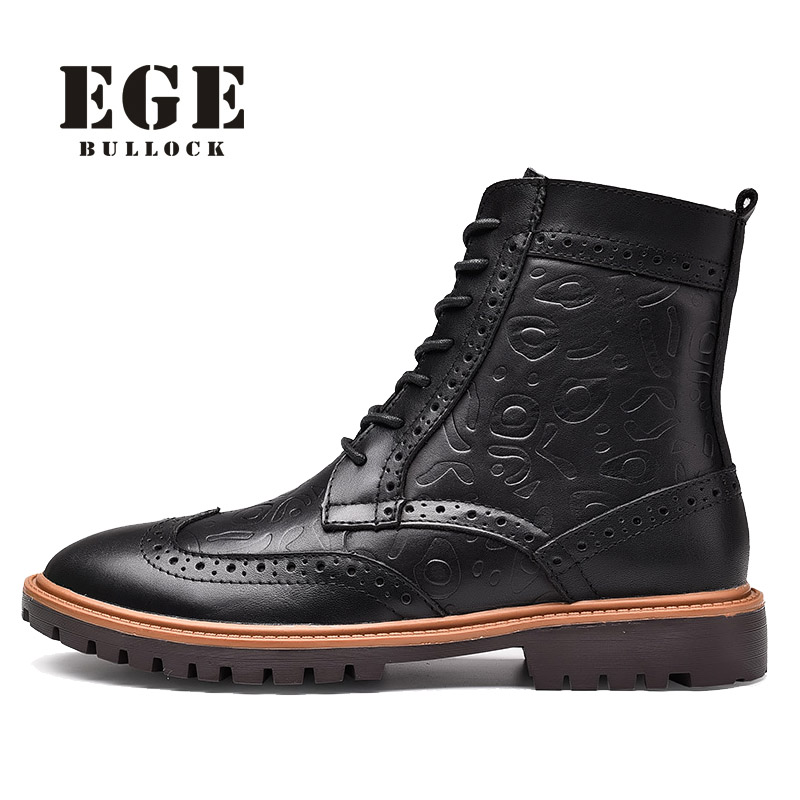 EGE Brand British Style Fashion Men Boots Winter Warm Genuine Leather Leisure Bullock Lace-up Round Toe Ankle Shoes for Men krusdan british style brand man handmad semi brogue shoes genuine leather round toe lace up men s cowboy martin ankle boots nk56