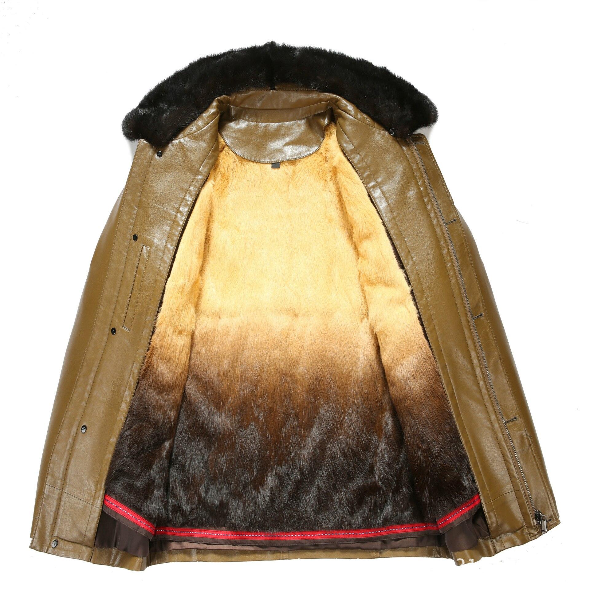 Новинка 817, модная зимняя одежда, мужская длинная куртка, кожаное пальто, мужское кожаное пальто, зимняя меховая куртка из кроличьего меха с ... - 3