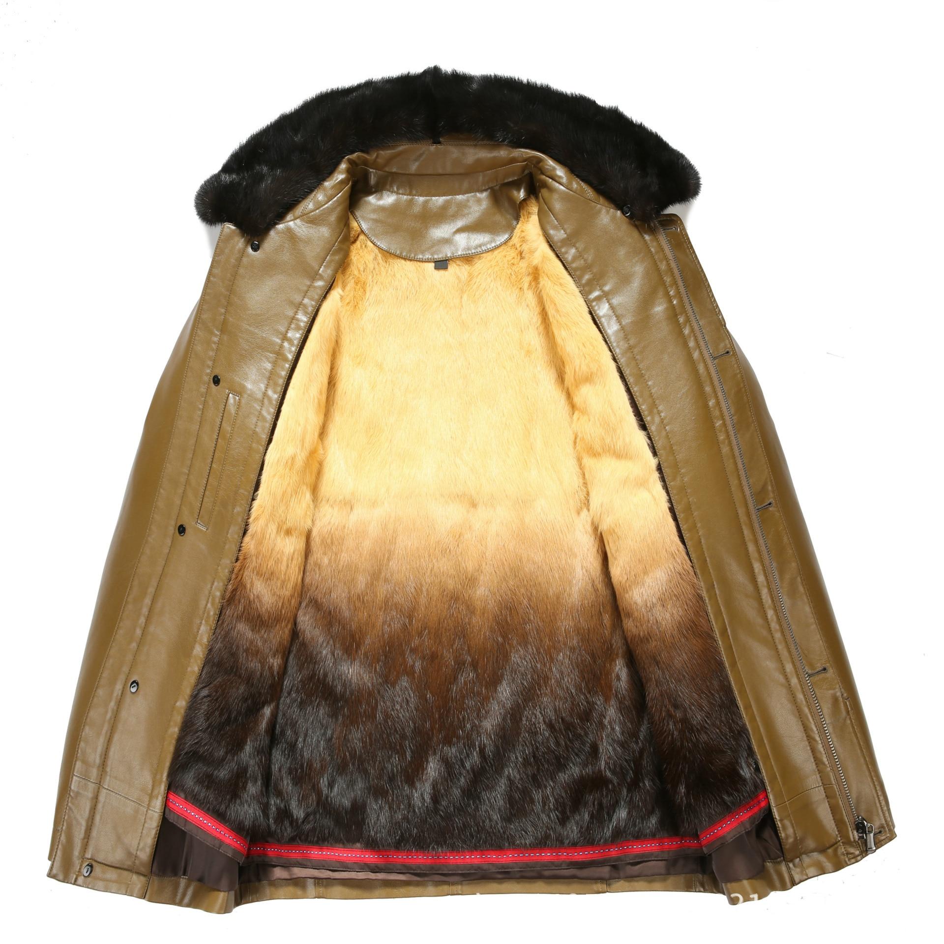 817 nouvelle mode hiver vêtements hommes veste longue en cuir manteau hommes en cuir manteau hiver lapin fourrure doublure vison fourrure veste - 3