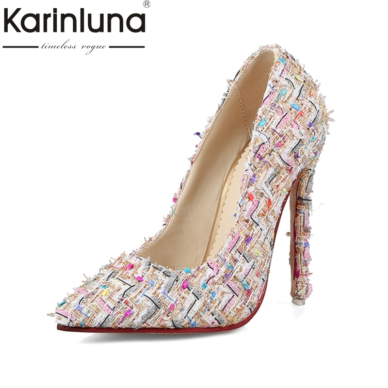 KARINLUNA 2018 Large Size 31-44 Office Lady Thin High Heels Woman Shoes Woman Slip On Pointed Toe Sexy Date Party Pumps karinluna big size 31 47 office lady shoes women med heels slip on elegant round toe dating woman pumps pink black