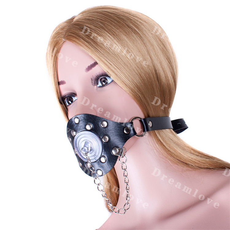 Buy Leatherette Metal Riveted Mouth Mask Clear Stopper Cover Adult Bondage Panel Gags Kinky Fetish Sub Training Toys