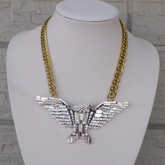 New Arrive Fashion Crystal Eagle Pendant Necklace Chunky Statement Hawk Jewelry For Women 2013 Free Shipping
