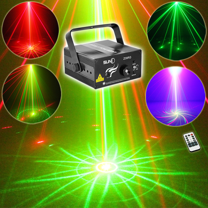 SUNY 9 RG Patterns Laser Light Blue LED Stage Light Sound Activated Gobo Projector Show for Club Bar DJ Disco Home Party (Z09RG)