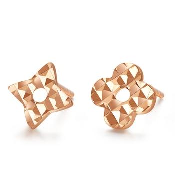VOJEFEN 18K Rose Gold Star and Flower Stud Earrings for Women and Men Gold Asymmetry Earrings Flower Star CZ Small Earrings 1