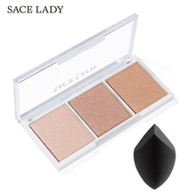 SACE LADY Brand Highlighter Palette Makeup Face Contour Powder Bronzer Make Up Blusher Professional Blush Palette Cosmetics Puff professional 10 colors blush palette makeup naked blusher bronzer powder palette brand new face cosmetics make up shimmer matte