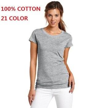 2018 100% Cotton High Quality 21 Color Summer Fashion T Shirt Women Basic T-shirts Female Casual Tops Short Sleeve T-shirt Women