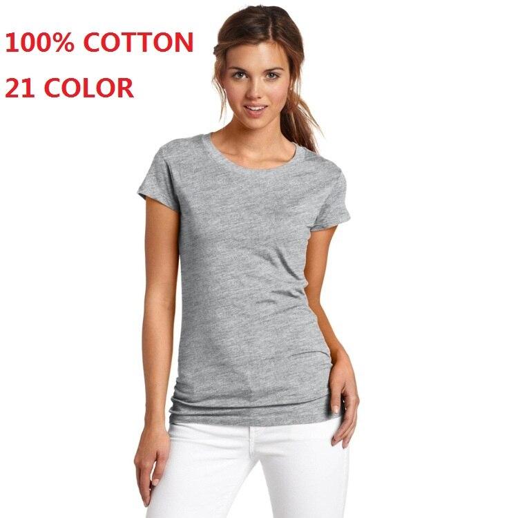 2018 100% хлопок высокое качество 21 Цвет модная летняя футболка Для женщин одноцветное Футболки женский Повседневное Топы корректирующие футболка с короткими рукавами Для женщин