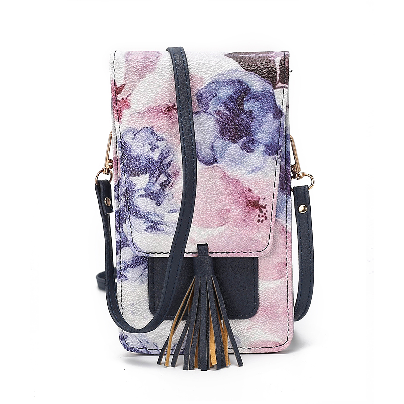 Tassel Women's Shoulder Bag Phone PU Leather Flap Printed Mini Cross Body Bag Ladies Small Messenger Bags Female Floral Wallet