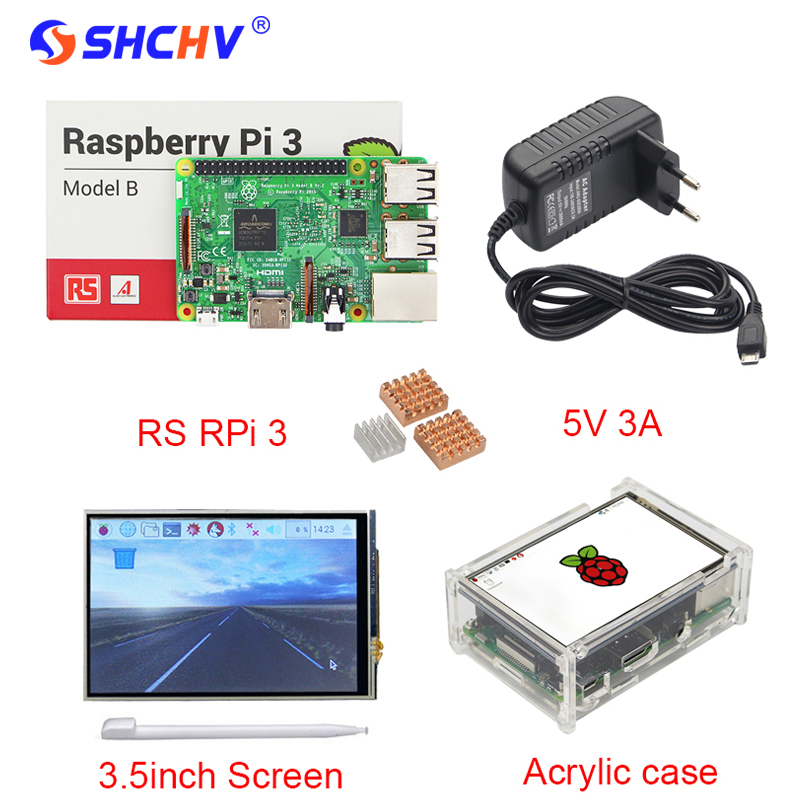UK Raspberry Pi 3 3 5 inch Touchscreen TFT Display Acrylic Case 3A Power Adapter Copper