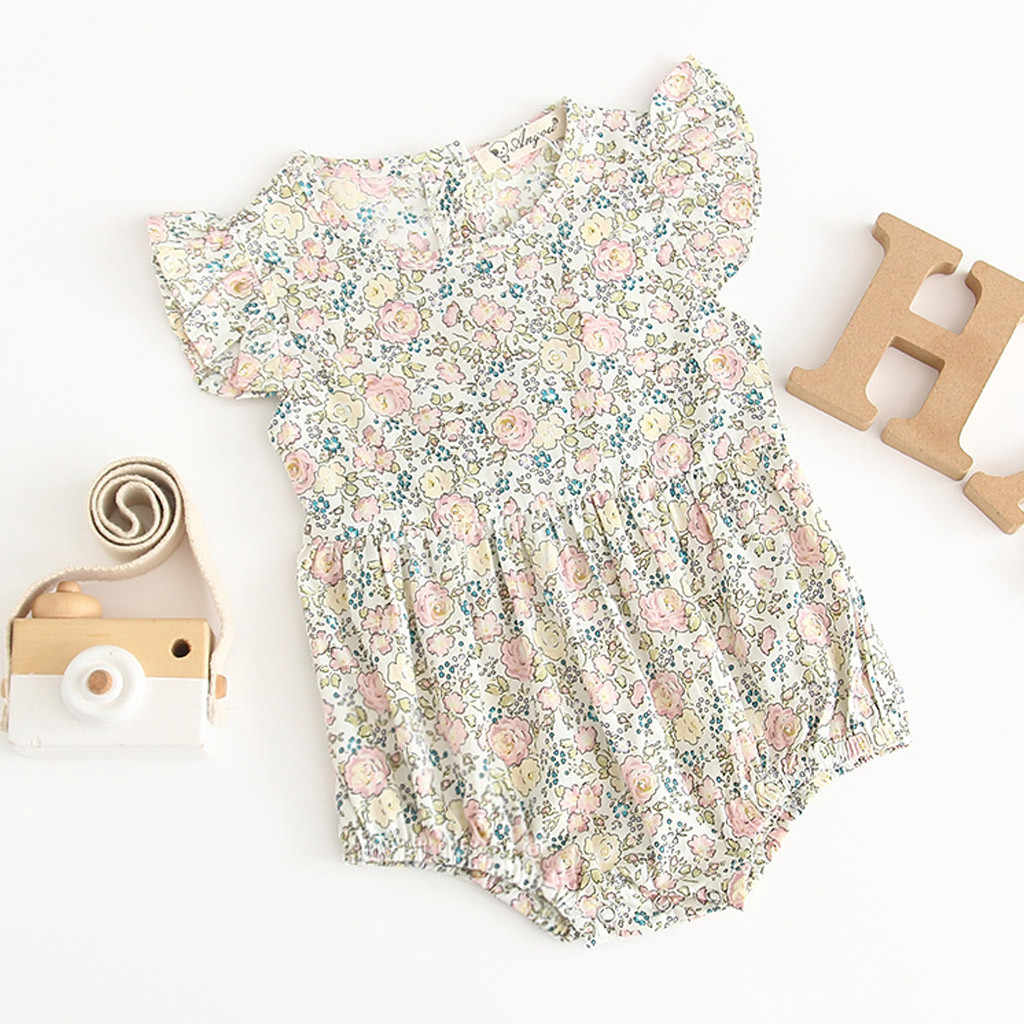 Newborn Baby Girl Short Sleeve Flowers Romper Outfits Clothes baby ruffle romper baby girl romper summer jumpsuit for newborns