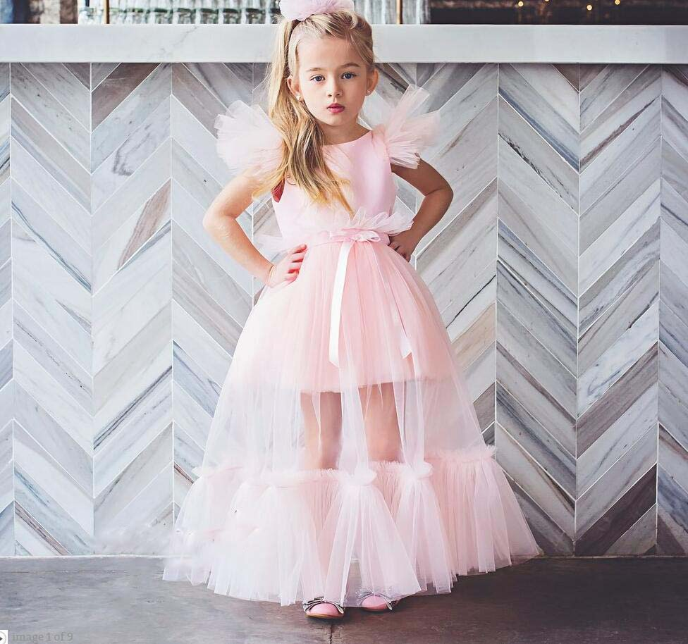 Fashion pink sheer tulle   dress   soft voile mesh   flower     girl     dresses   toddler glitz pageant gown kid illusion birthday party frocks