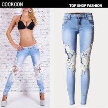 COCKCON Вышивка джинсы женщина Карандаш Брюки высокая талия Выдалбливают джинсы джинсовой ткани женщин жан брюки узкие джинсы Женские брюки TSL008