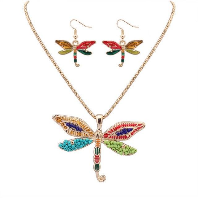 55d9f7a0c981 Caliente colorido libélula Gargantillas Pendientes Juegos de joyería Cadena  de palomitas Colgantes para el regalo del