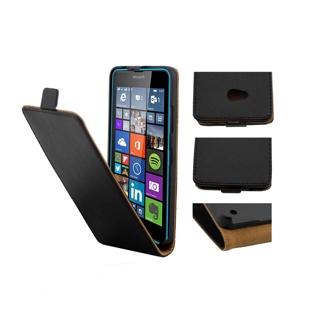 Skin Leather Case For Nokia Lumia 630 640 950 Open Up And