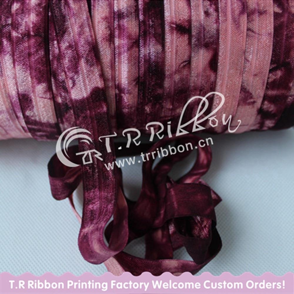 #238 Light Coral FOE #277 Burgundy Tie Dye, 5/8 Fold Over Elastic,Tie Dye FOE Ribbon for DIY hairbands Accessories 50yards