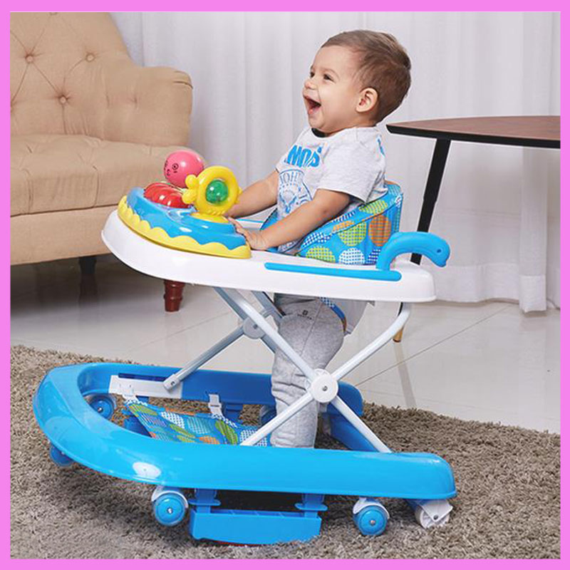 Folding Adjustable Baby Toddler Child Multi Function Safety Baby Activity Mobility Rollator Walker Aid with Seat Music 7~18 M original fisher price multi function baby walker lion car children activity musical baby walker with wheels adjustable car
