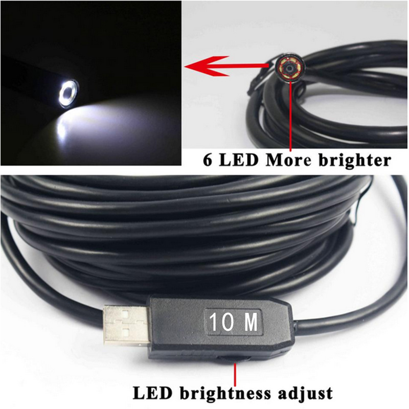 HD 10M OTG USB Endoscope Camera Coms with LED 7mm Lens Adjustable Waterproof Inspection Car Borescope
