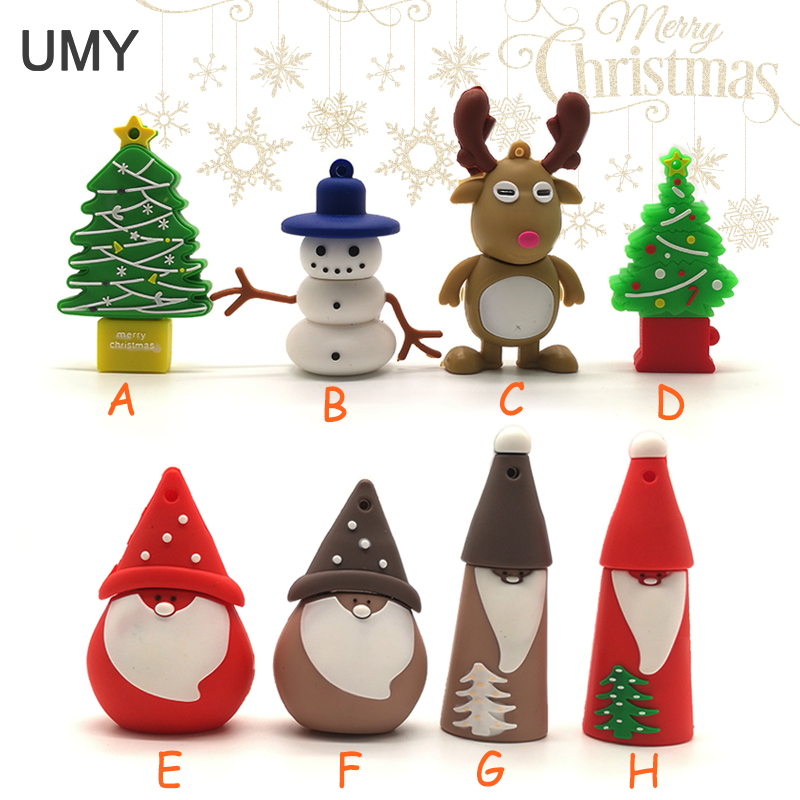USB flash drive snowman /Christmas tree pen drive 4GB 8GB 16GB 32GB 64GB Santa Claus memory stick Christmas gift pendrive cle