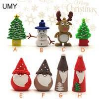 USB flash drive muñeco de nieve/árbol de Navidad pen drive 1 GB 2GB 4GB 8GB 16GB 32GB 64GB Santa Claus memoria regalo de Navidad pendrive cle