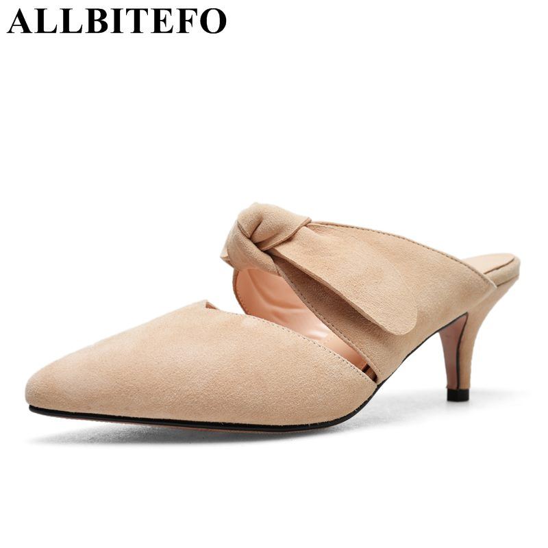 ALLBITEFO new summer Nubuck leather pointed toe high heel shoes sweet bowtie high heels women sandals party women shoes Slipper sweet women high quality bowtie pointed toe flock flat shoes women casual summer ladies slip on casual zapatos mujer bt123