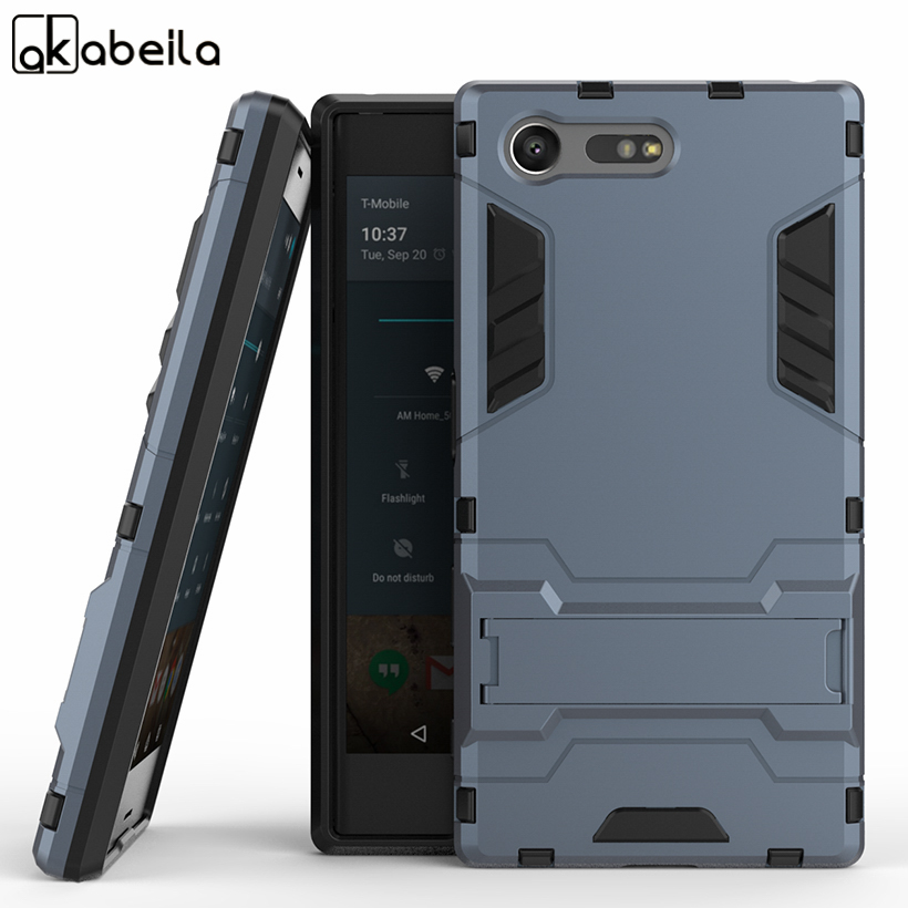 AKABEILA TPU PC Hybrid Kickstand 2 in1 Mobile Phone Cases For Sony Xperia X Compact X Mini F5321 PS30 XC Covers Armor dual Bags