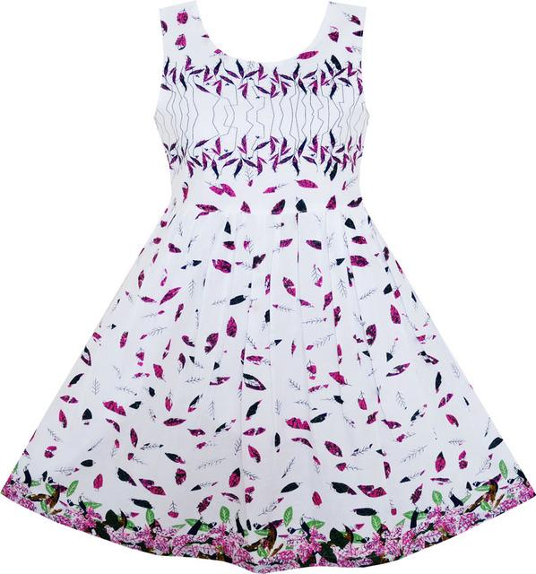 Sunny fashion flower girl dress púrpura verde hojas volando en el viento patrón de algodón 2017 de la princesa del verano del banquete de boda de tamaño 7-14