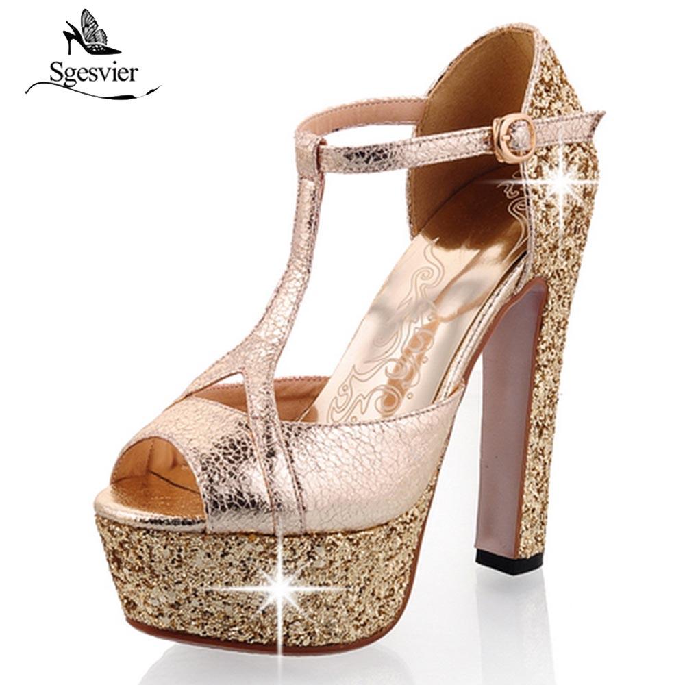 0437720ed361 Sgesvier Summer Gladiator Sandals T-strap Bling Bling Thick High Heels  Platform Sandals Party Wedding
