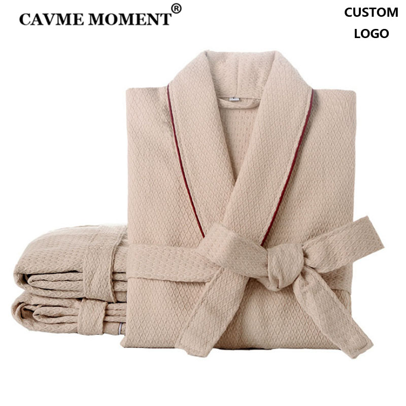CAVME Waffle Bathrobe Cotton Kimono Hotel Robe For Women Family Men's Sleepwear Hooded Nightgown V-Neck Plus Size CUSTOM LOGO