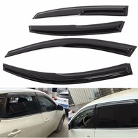 4Pcs Set Car Door Side Window Visor Moulding Awning Shelters Shade Vent Rain Guards Deflector Cover
