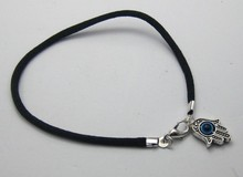 100Pcs Black String Kabbalah Evil Eye Hamsa Hand Charms Good Luck Bracelets R10121