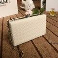 Белые дамы кадров сумка черные женщины кожа сцепление кошелек Розовый серебристый Желтый Решетки алмаза сумки на цепи
