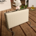 White ladies frame bag black women leather clutches purse Pink silver Yellow diamond Lattice handbag on chain