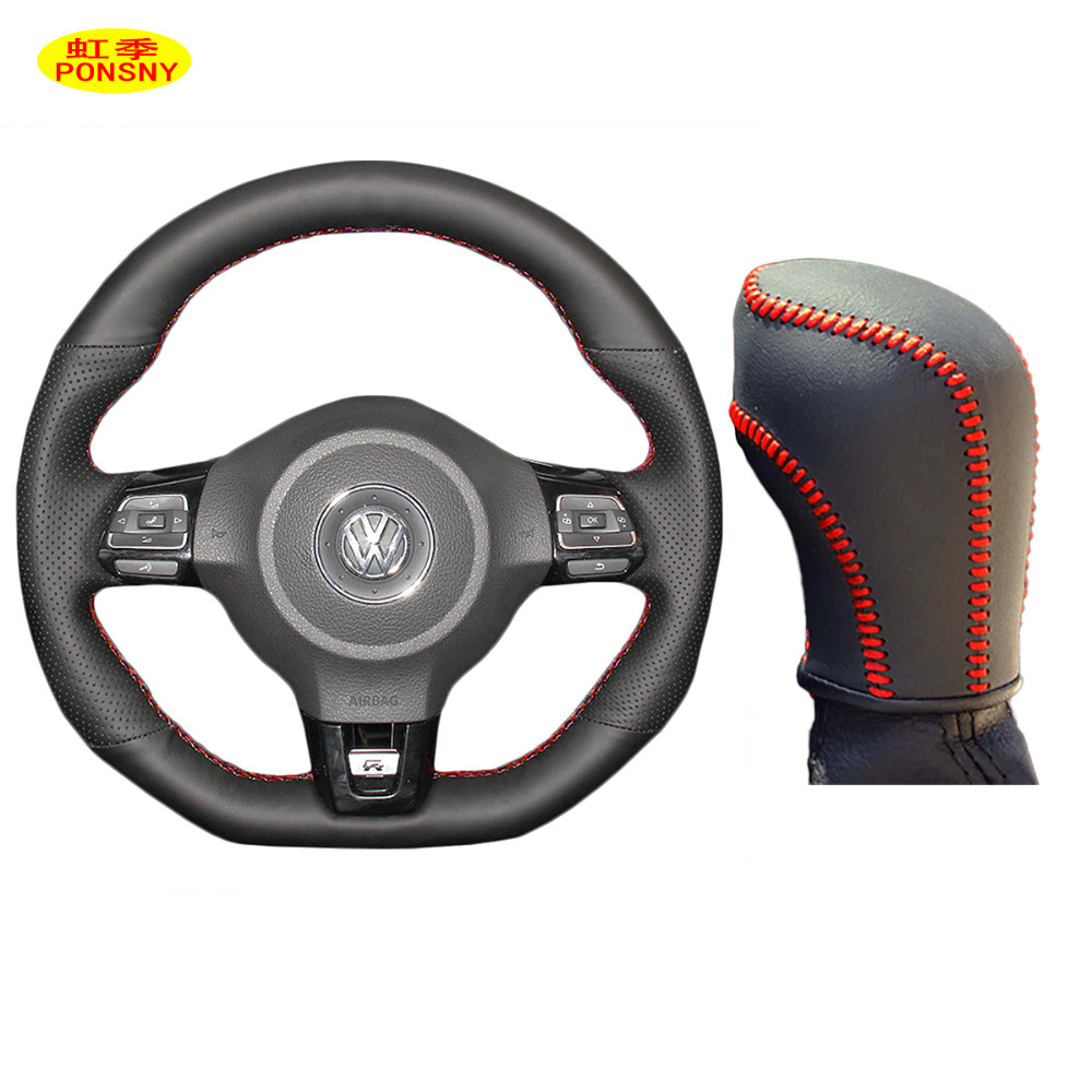 Ponsny Car Gear Steering Wheel Genuine Leather Covers Case
