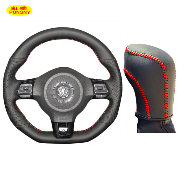PONSNY Car Gear/Steering Wheel Genuine Leather Covers Case for Volkswagen VW Golf GTI Scirocco Sagitar 2009-2013 Hand-stitched