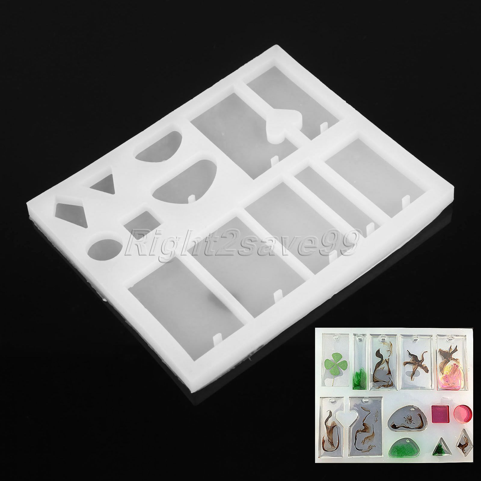 13 Mixed Shape Silicone Mold DIY Jewelry Pendant Resin Craft Rectangle Heart Casting Mou ...