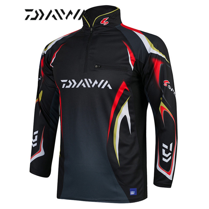 Daiwa Brand 2018 Autumn New Men Professional Fishing T-shirts UPF 50+ Sunscreen Clothing Breathable Fishing Shirt