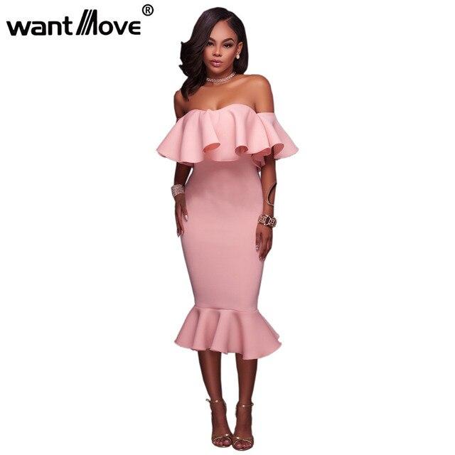9a688402e930 Wantmove 2018 summer new women s fashion dress ruffled sexy word shoulder  tight body hip party dress WM403