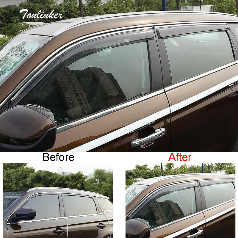 Tonlinker Cover stickers For Geely Atlas 2016-18 Car Styling 4 PCS ABS Plastic The door Windows Awnings Shelters Covers sticker fashionable diy plastic sticker ring for cruz car speaker silver 4 pcs