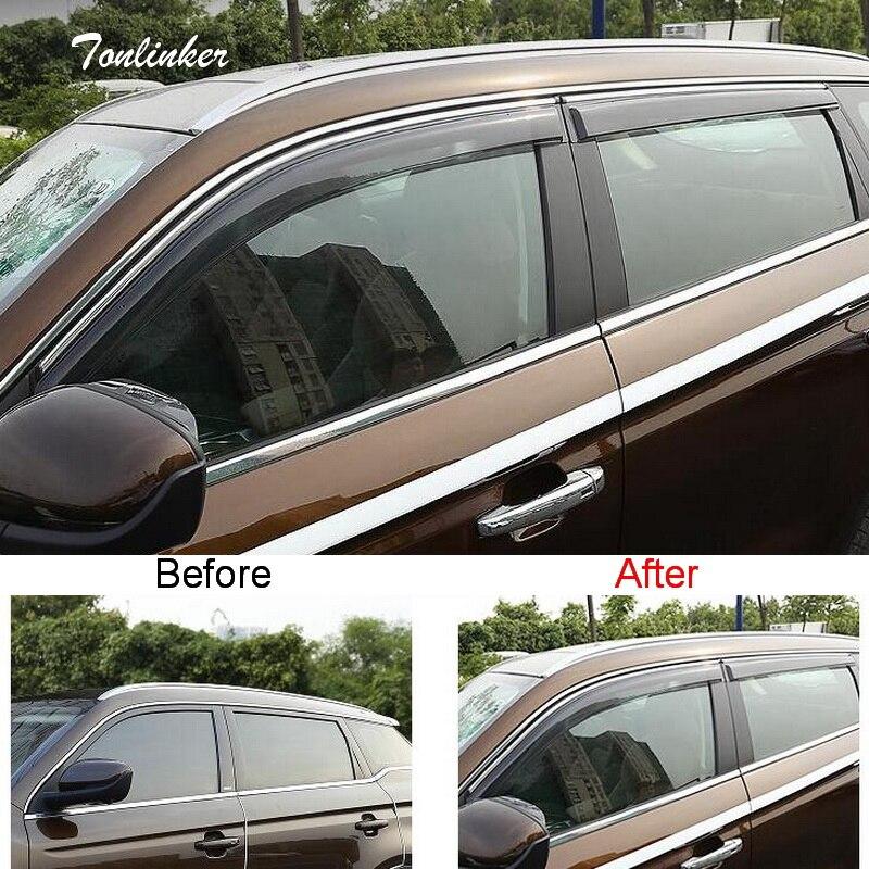 Tonlinker couverture autocollants pour Geely Atlas 2016-18 voiture style 4 pièces ABS plastique la porte fenêtres auvents abris couvre autocollant