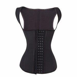 Image 1 - YUMDO 100% לטקס מותניים מאמן אפוד מחוך 4 שורות וו נשים גוף Shaper 9 פלדת עצמות מותן Cincher Shapewear Fajas שחור 6XL