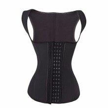 YUMDO 100% Latex Waist Trainer Vest Corset 4 Rows Hook Women Body Shaper 9 Steel Bones Cincher Shapewear Fajas Black 6XL