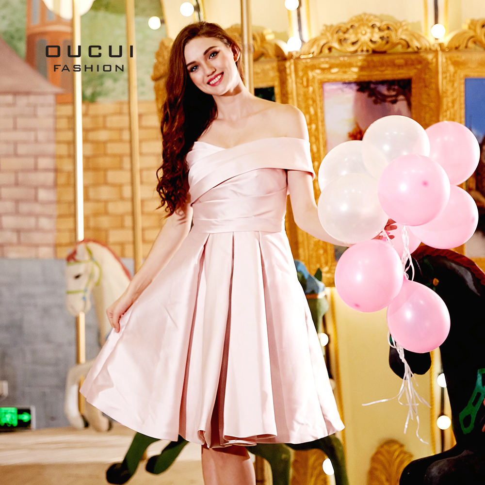 Oucui Off The Shoulder Pink   Bridesmaid     Dress   For Wedding Party   Dresses   2019 A Line Bandage Pleated Plus Size Gowns OL103312