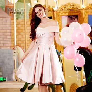 4505c0e394 Oucui el hombro Rosa vestido de dama de honor para boda fiesta vestidos  2019 una línea vendaje falda Plus tamaño vestidos de OL103312